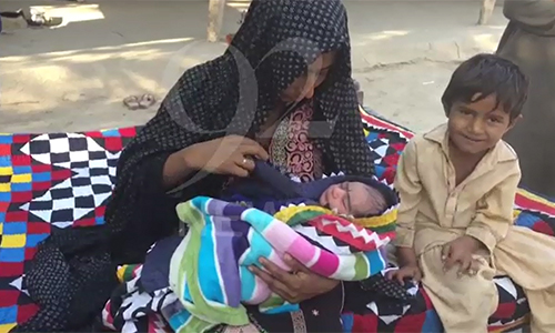 Woman gives birth to a baby in polling station in Badin