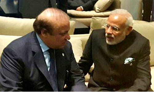 Prime Minister Muhammad Nawaz Sharif and Prime Minister Modi in a cordial chat with each other at the venue of COP21 Climate Change Summit Paris on 30th November 2015.
