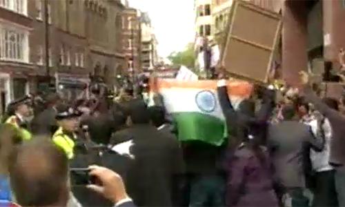 Kashmiris, Sikhs protest against Indian Prime Minister Narendra Modi at 10 Downing Street