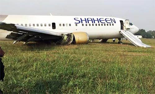 Shaheen Air flight crash lands off runway at airport after tyres burst