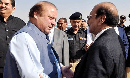 CHIEF MINISTER SINDH, SYED QAIM ALI SHAH WELCOMING PRIME MINISTER MUHAMMAD NAWAZ SHARIF UPON HIS ARRIVAL AT KARACHI AIRPORT ON DECEMBER 7, 2015.