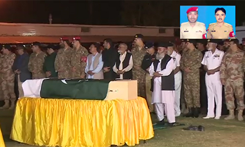 Funeral prayers for two martyred Military Police jawans offered in Karachi