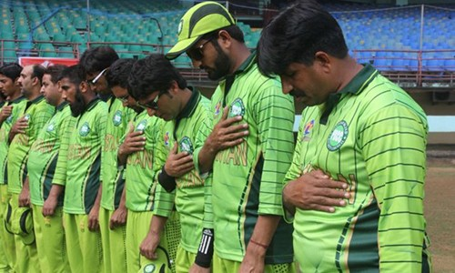 Pakistan blind cricket team players pay homage to the martyrs of the Charsadda tragedy.