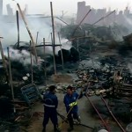 Fire guts bamboos of worth millions of rupees in Karachi