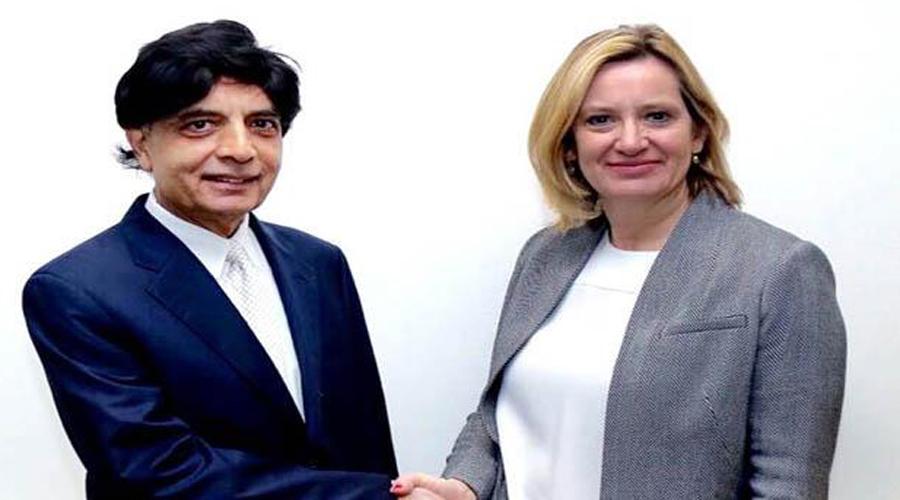 Ch Nisar, British home secretary discuss bilateral ties & human trafficking