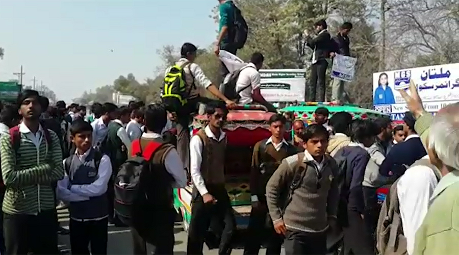 Students protest firing incident in Burewala college