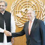 PM Abbasi meets UN Secy General Antonio Guterres