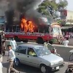 Bus set ablaze after student's death in Sialkot