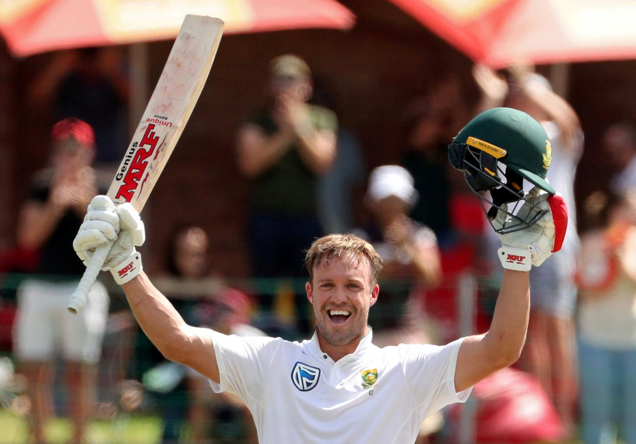 Cricketer De Villiers' delight at Test ton as South Africa hunt win