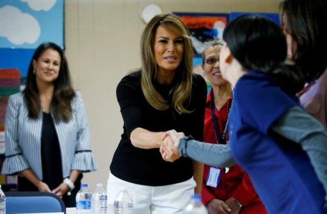 Melania Trump visits Arizona migrant shelter as protests mount
