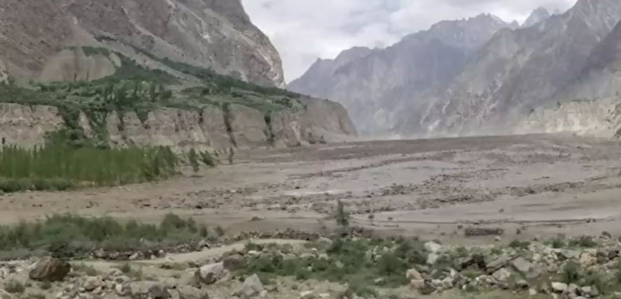 Ghizer village turned into lake after glacier melts in Gilgit-Baltistan