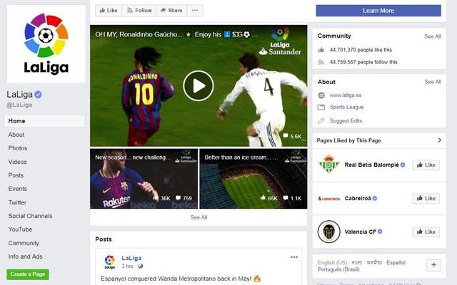 Liga announces landmark free-to-air deal with Facebook in India