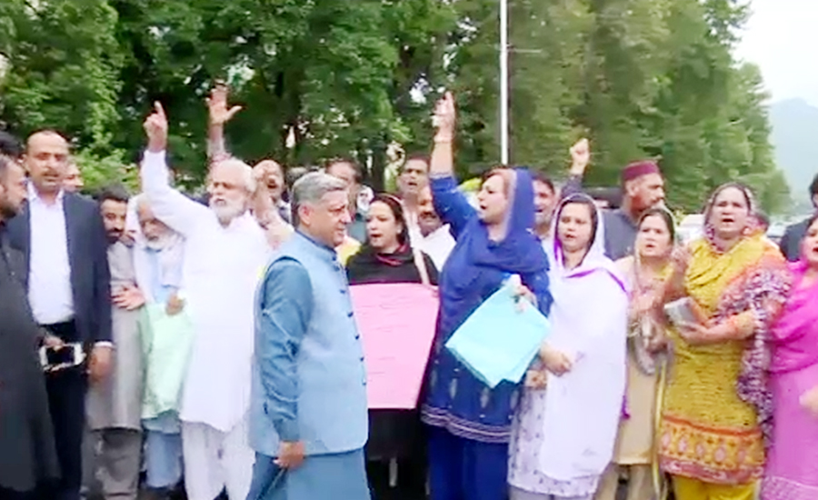 Opp alliance stages unique protest against rigging outside ECP