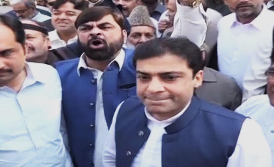Hamza Shehbaz leads protest outside PA along PML-N lawmakers