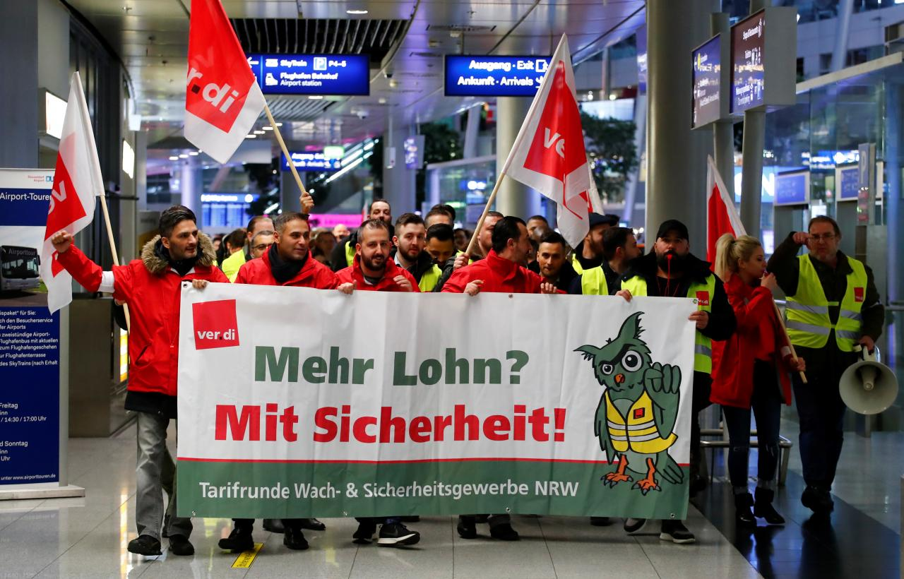 German airport security staff strike hits more than 600 flights