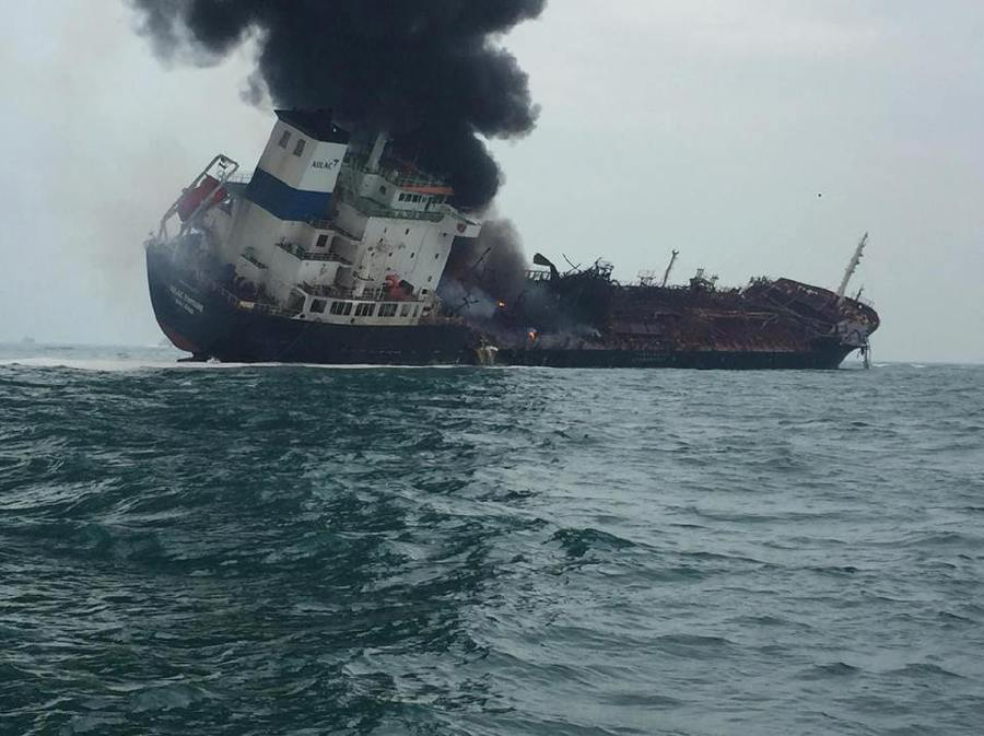 Oil tanker fire in Hong Kong waters kills one, rescue going on