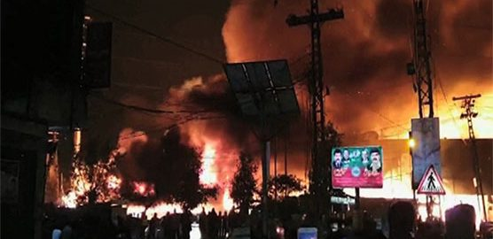 furniture market fire fire at lahore Maualana Shuakat Ali ROad