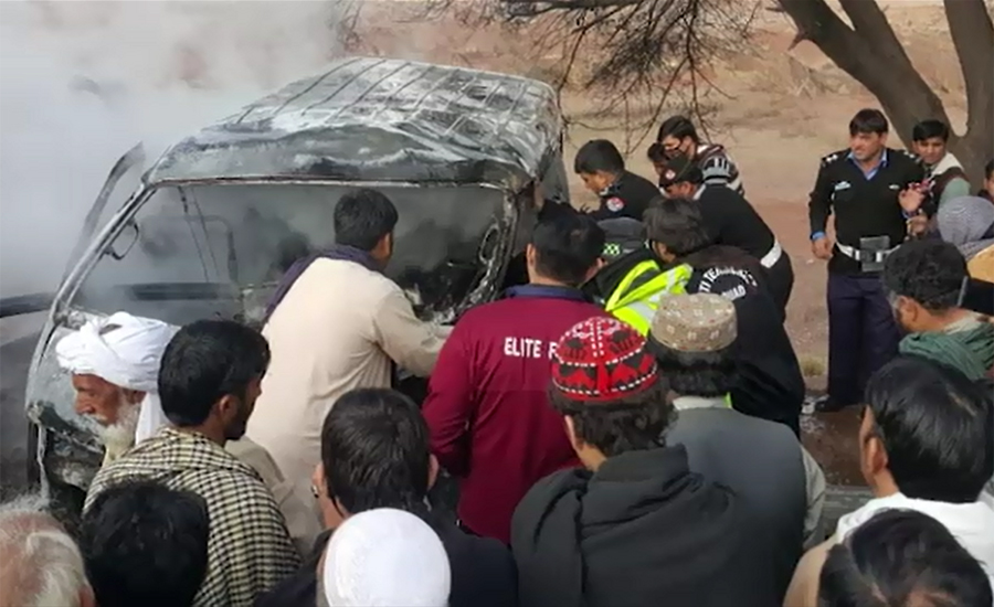 12 die as coach catches fire after colliding with pick-up in Karak