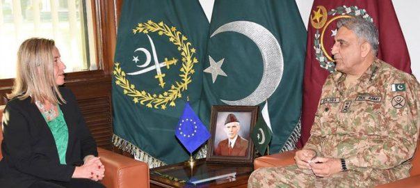 EU EU Representative Federica Mogherini COAS Chief of Army Staff ISPR Inter-Service Public Relation Gen Qamar Javed COAS Gen Qamar Javed Bajwa Foreign Minister Shah Mahmood Qureshi