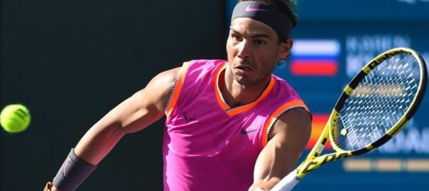 Rafael Nadal Roger Federer. semi-final Indian Wells tournament knee injury
