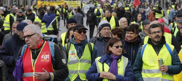 YELLOW VEST PROTEST PARIS DEMONSTRATIONS MACRON DEBATES UNEMPLOYMENT