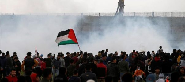Palestinians, mass, Gaza, border, mark, protest anniversary