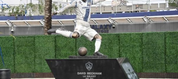 David Beckham LA Galaxy League Soccer club's season-opener. MLS player nba
