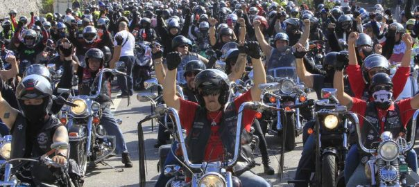 motorbikers protest license criminal regulations