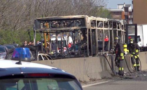schoolchildren bus hijacked protest migrant