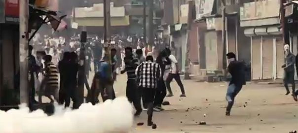 Clashes, erupt, Kulgam, amid, complete, boycott, Indian, polls, IOK