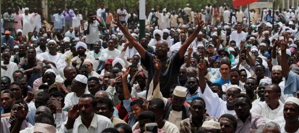 Protesters, flood, Sudan, sit-in, demand, civilian rule