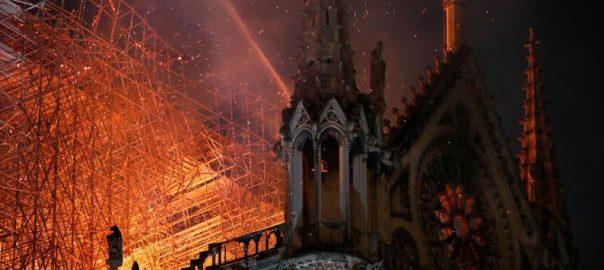 Fire, guts, Notre-Dame, Cathedral, Paris, Macron, pledges, rebuild