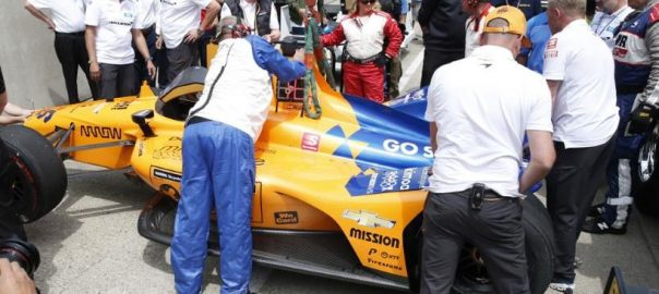 Alonso, uninjured, crash, during Indy 500, practice