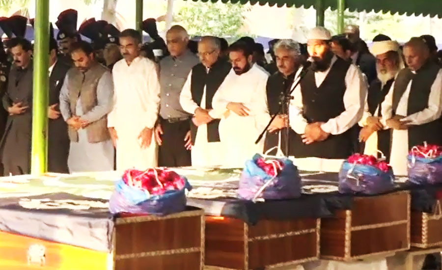 Funeral prayers of martyred police officials in Data Darbar blast offered