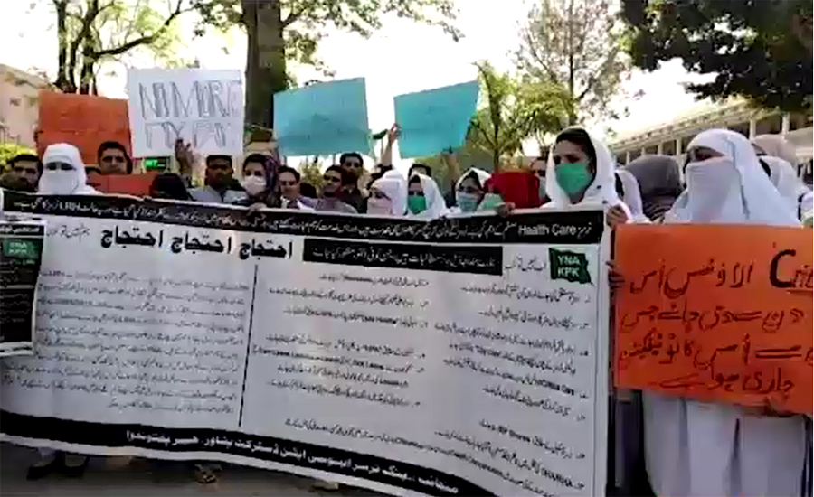 Nurses' protest for their demands enters on 8th day in Karachi