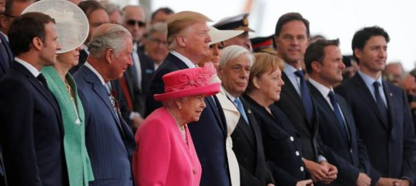 Queen Elizabeth, Trump, world leaders, applaud, D-Day, veterans