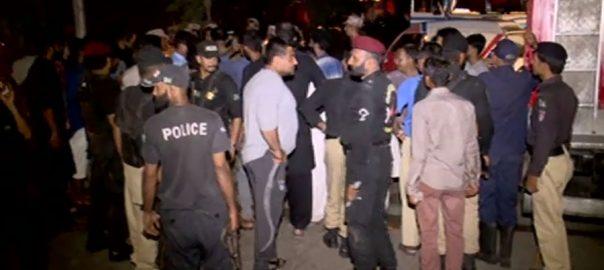dumper truck accident protestors mob Landhi fire