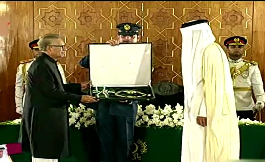 President Alvi confers Nishan-e-Pakistan on Emir of Qatar
