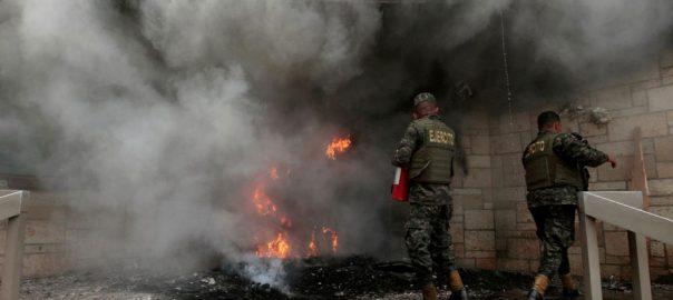 Protesters fire us embassy honduras demonstration Hernandez President Juan Orlando Hernandez.