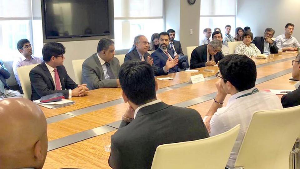 Hafeez Shaikh, Reza Baqir meet IMF MD, WB officials in Washington
