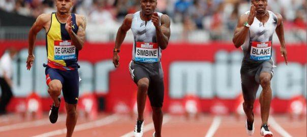 Athletics, Simbine, takes, London, 100m, honours