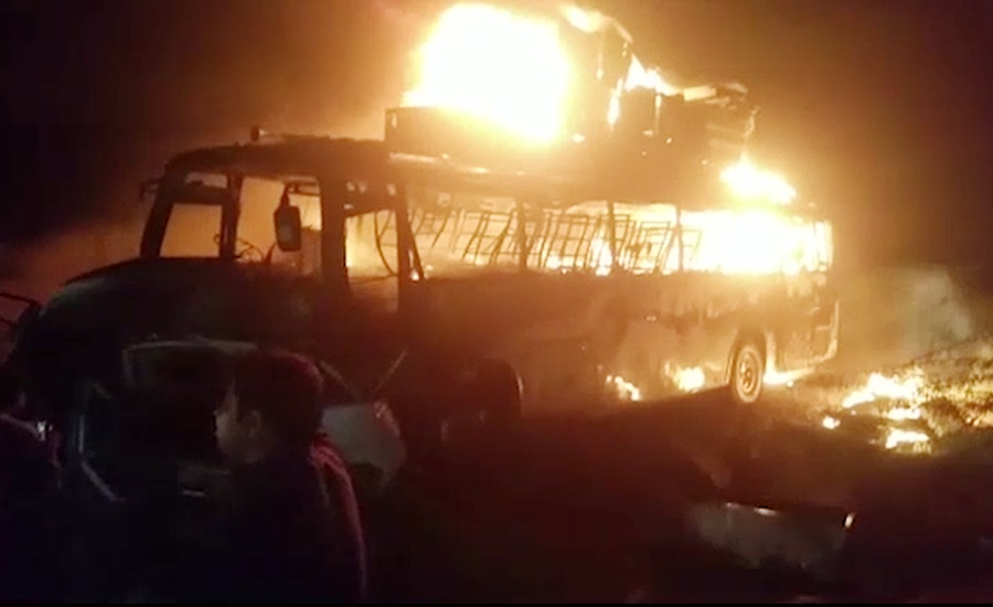 Six burned alive after a bus catches fire after hitting another vehicle in Hub