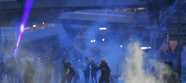 Hong Kong police protests tear gas fire fire tear gas