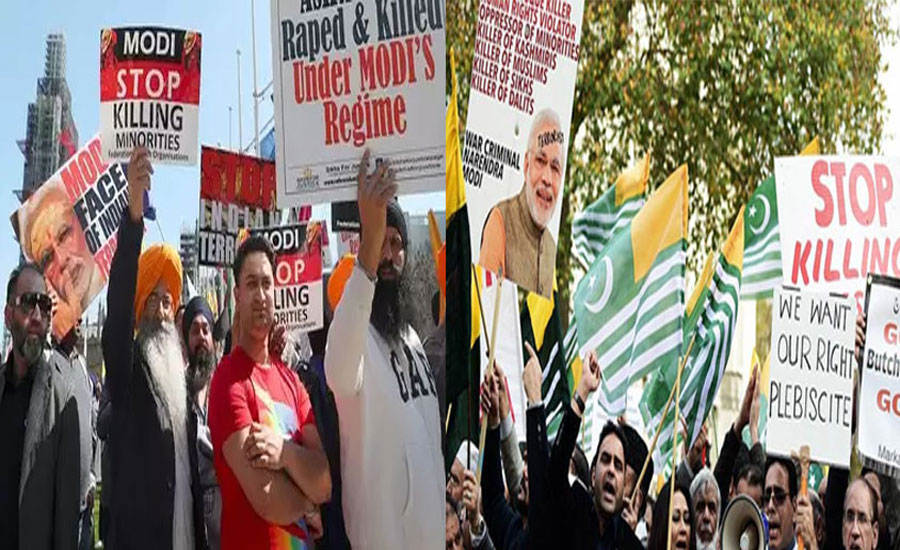 Modi anti-Modi anti-india protest Houston Khalistan kashmiri in US