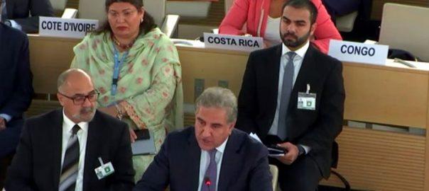 UNHRC Shah Mehmood Qureshi FM Qureshi FM oppressed Kashmiris in UNHRC CFVs: FM Qureshi