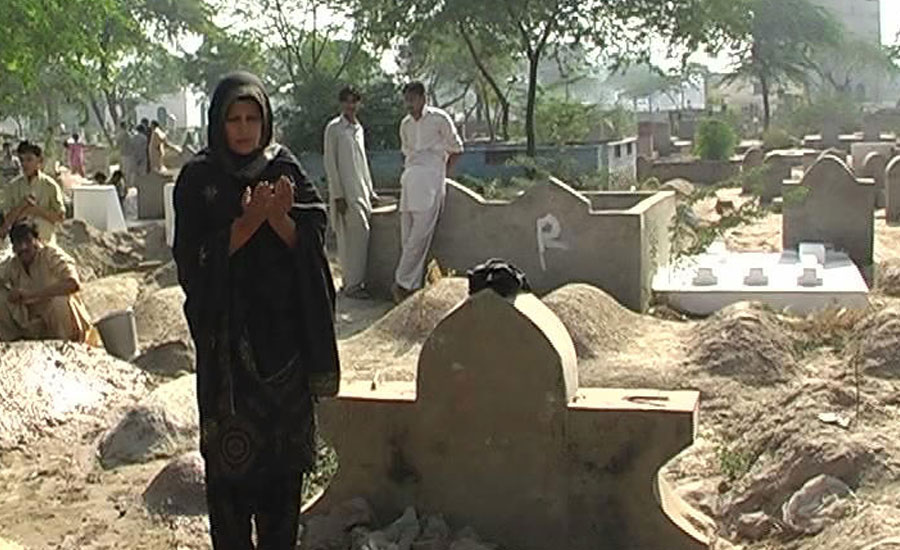 Graveyards being visited by large number of people on 9th Muharram