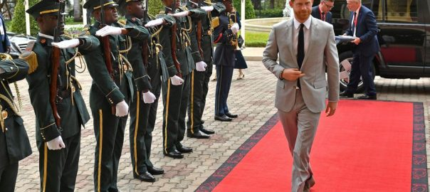 Prince Harry Britian's Prince Harry Malawi touch down