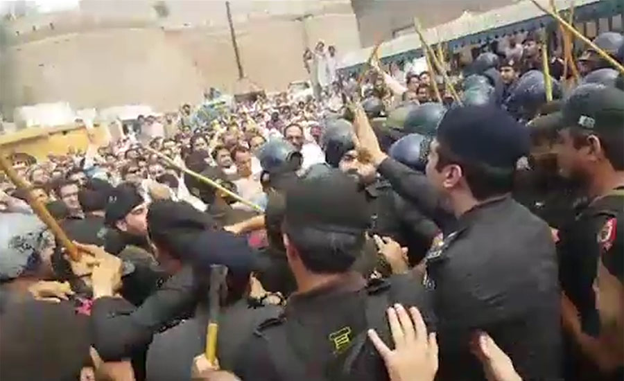 Six arrested as police baton-charge protesting doctors in Peshawar