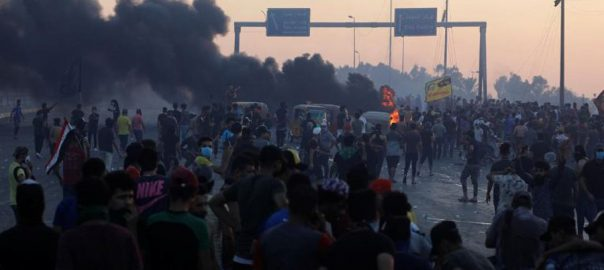 Iraqi, police, fire, protesters, new, unrest, death, toll, 100