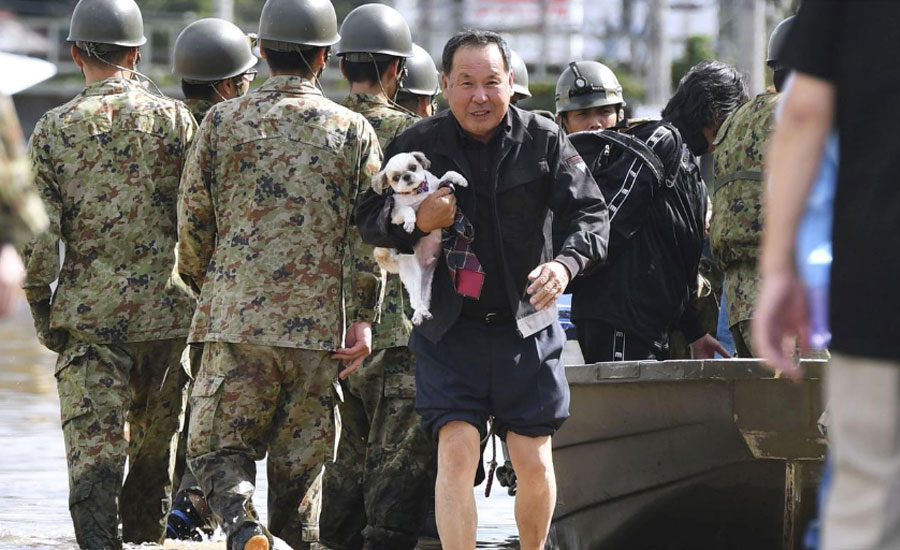 Japan typhoon troops thousand of troops massive typhoon hammers